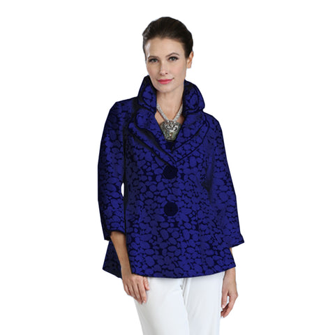 IC Collection Button-Front Jacquard Peplum Jacket in Cobalt/Black - 3062J-COB