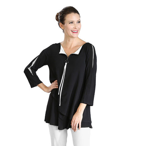 IC Collection Zip Front Tunic Top in Black/White  - 3463T-WHT - Size S & L Only
