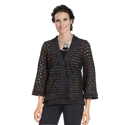 IC Collection Asymmetric Mesh One-Button Jacket w/Multicolor Cutouts - 3482J - Sizes L & XL Only