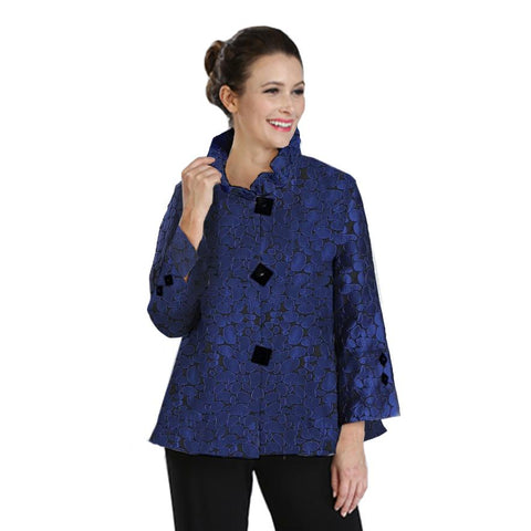 IC Collection Jacquard Jacket with Ruffle Detail Collar in Blue - 2132J-BLU