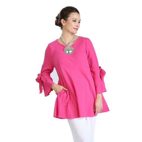 IC Collection Textured A-line Tunic w/Bow Details in Pink - 2135T