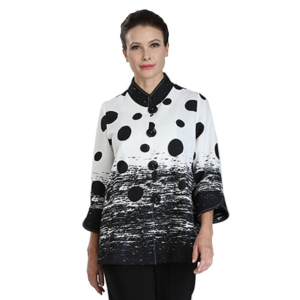 IC Collection Polka-Dot-Splash Print Jacket in Black & White - 3012J-BLK