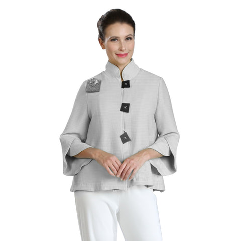 IC Collection Ribbed Button Front Jacket w/ Trumpet Sleeves in Gray - 3065J-GRY