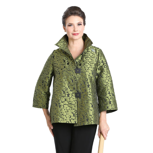 IC Collection Jacquard Jacket in Olive - 8460J-OLV - Sizes M & XL Only