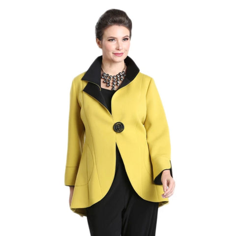 IC Collection One-Button Cutaway Jacket in Mustard/Black - 1529J-MST - Sizes S & M