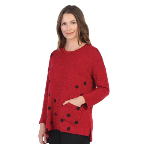 "Jess & Jane ""Coco Dots"" Soft Knit Tunic Top in Red/Black - GB1-1322"