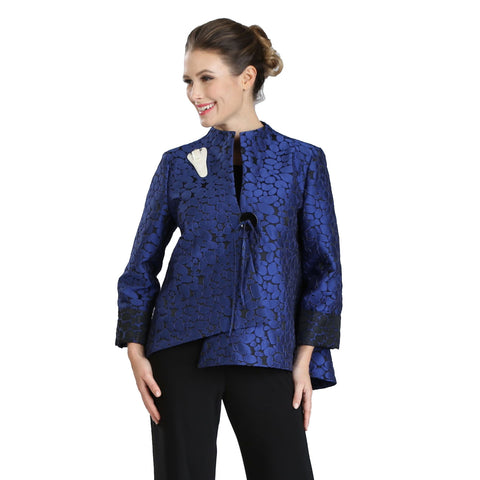 IC Collection Jacquard Asymmetric Jacket in Blue/Black - 2125J-BLU - Size L Only