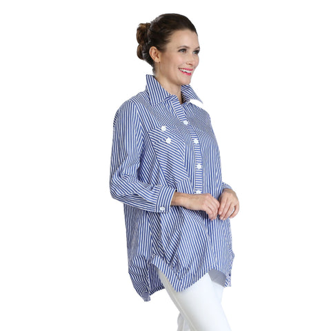IC Collection Striped Long Pocket Shirt Blouse in Blue/White - 3218B-BLU - Sizes L & XL Only