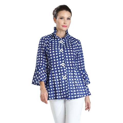 IC Collection Check-Print Sheer Jacket in Cobalt/White - 3010J-COB-Size XL Only