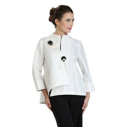 IC Collection Jacquard Asymmetric Jacket in White - 2125J-WHT - Sizes M & XXL Only
