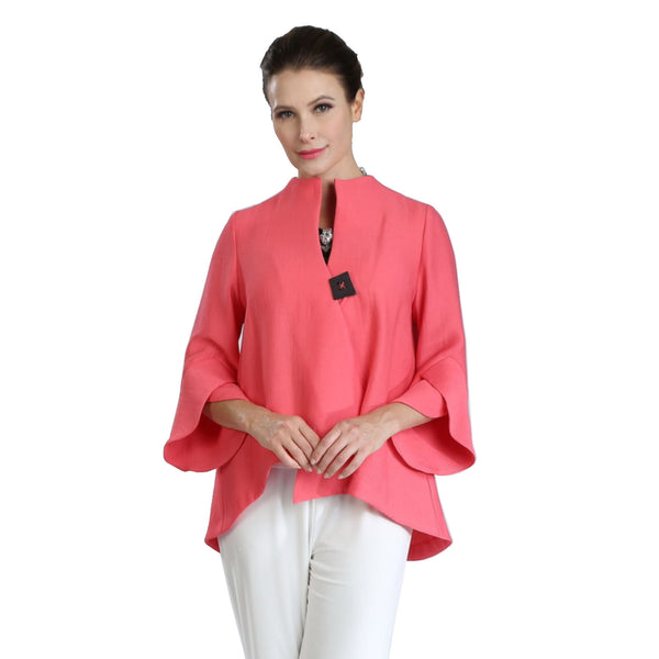 IC Collection Ribbed Asymmetric Jacket in Coral - 3042J-COR - Sizes S & XXL Only