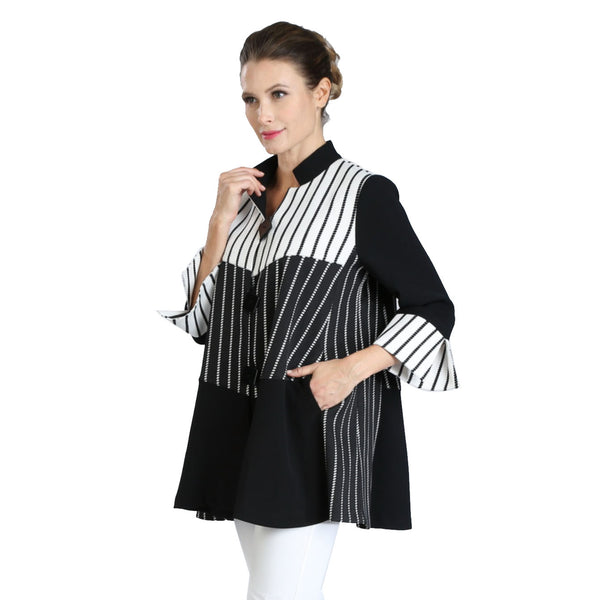 IC Collection Striped Stand-Collar Jacket in Black/White- 3040J-BK - Size M Only