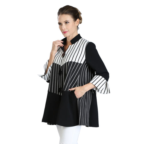 IC Collection Striped Stand-Collar Jacket in Black/White- 3040J-BK - Sizes M & XXL Only