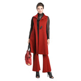 IC Collection Long One-Button Vest in Red - 3157V-RED - Size M Only