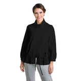 IC Collection Zip Front Parachute Jacket in Black - 8427J-BLK
