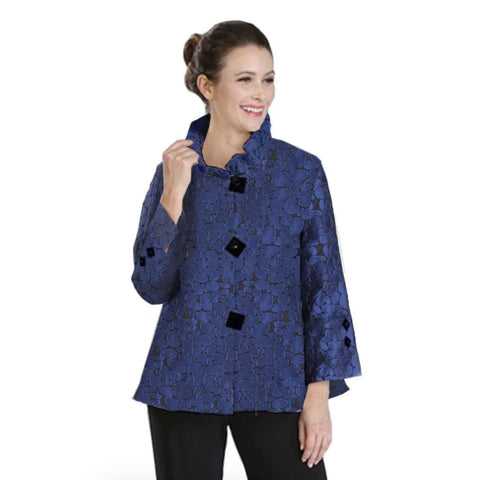 IC Collection Jacquard Jacket w/Ruffle Collar in Blue - 2132J-BLU - Sizes S & XXL Only