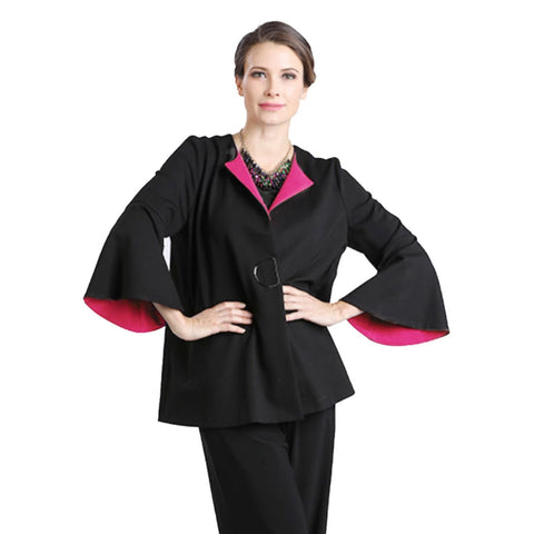 IC Collection Bell Sleeve Jacket in Black/Fuchsia- 2026J-FUS - Size M Only