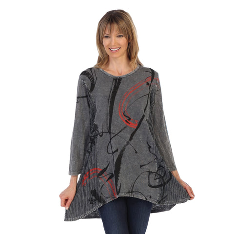 "Jess & Jane ""Matilda"" Abstract Print Mineral Washed Tunic in Charcoal - M55-1247"