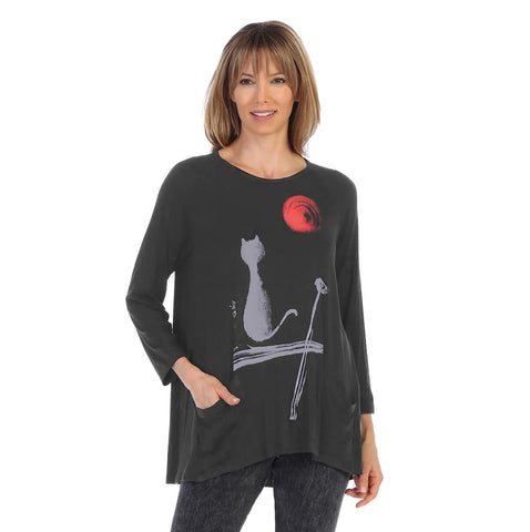 "Jess & Jane ""Sun and the Cat"" Soft Modal Tunic Top in Black - MD1-1209"