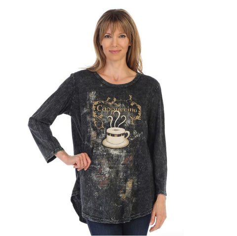 "Jess & Jane ""Cappuccino"" Mineral Washed Cotton Tunic Top - M28-1291 - Sizes S - XL Only"