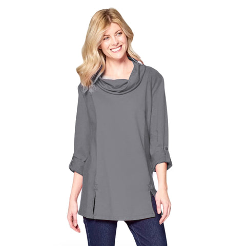 Focus Fashion French Terry Cowl Neck Tunic in Graphite - FT-4048-GRH - Size M Only
