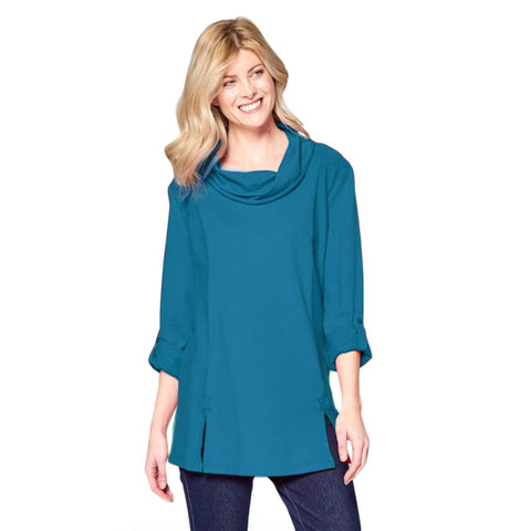 Focus Fashion French Terry Cowl Neck Tunic in Deep Sea - FT-4048-DS - Sizes M & L Only