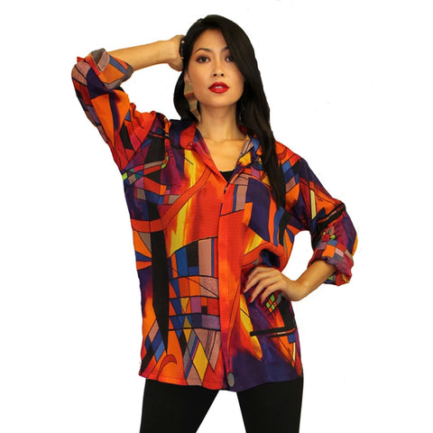 Dilemma Kandinsky Inspired Viscose Big Shirt in Red/Multi - FRMS-105-KAND - Size M/L Only