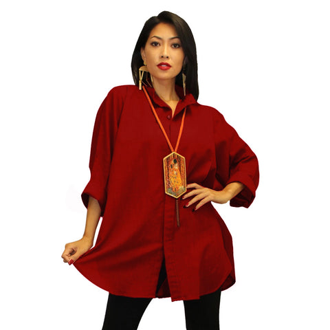Dilemma Mandarin-Collar Big Shirt in Cranberry Red - GB-5001-RED