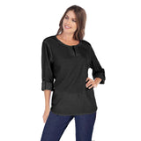 Focus Cotton Dobby Zip Front Top in Black - CD-202-BLK - Size M Only