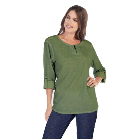 Focus Cotton Dobby Zip Front Top in Avocado - CD-202-AVO - Size S Only
