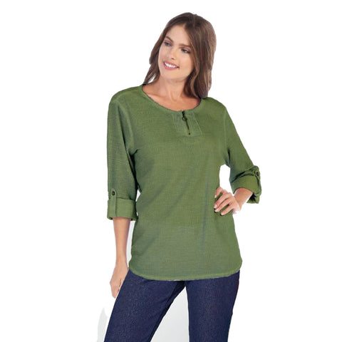 Focus Textured Partial Zip Front Top in Avocado - CD-202-AVO - Sizes S & L Only