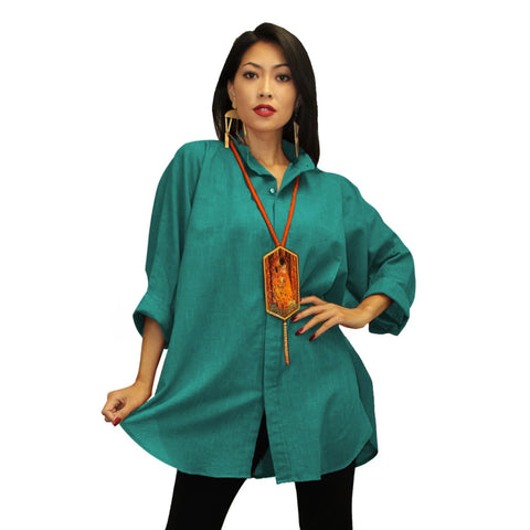 Dilemma Fashions Solid Big Shirt in Spruce - GB 5001-SPR