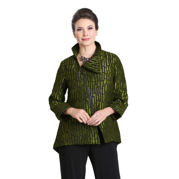 IC Collection Jacquard Stripe Zip Front Jacket in Kiwi - 3135J-KW - Size M