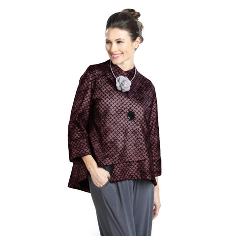 IC Collection Iridescent Scalloped Pattern Asymmetric Jacket in Deep Purple - 9926J-DP - Size M Only