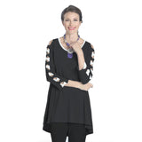 IC Collection High-Low Bow Sleeve Tunic in Black & White - 1030T-BW