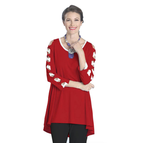 IC Collection High-Low Bow Detail Tunic in Red & White - 1030T-RW