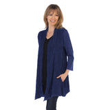Jess & Jane Wave Contrast Open Front Cardigan in Denim Blue - M57-DEN