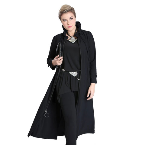 IC Collection Long Zip-Front Parachute Jacket in Black - 1421J-BLK