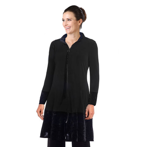 IC Collection Velvet Trim Zip Front Long Jacket - 3332J-BLK