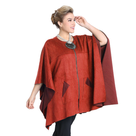 IC Collection Faux Suede Zip Front Poncho in Rust - 1205PC-RST