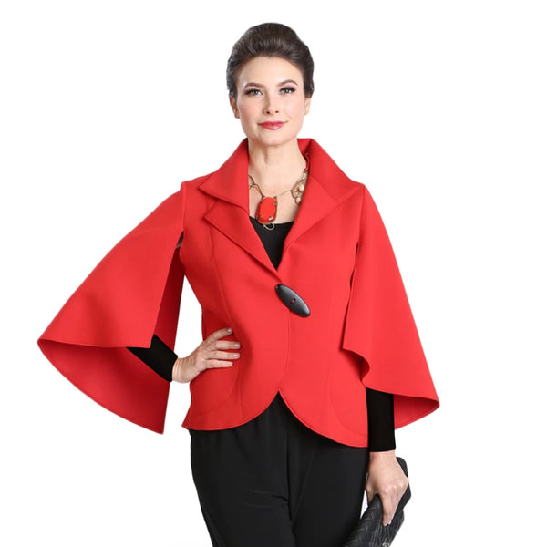 IC Collection Soft Techno Knit Split-Sleeve Jacket in Red - 3132J-RD- Size S Only