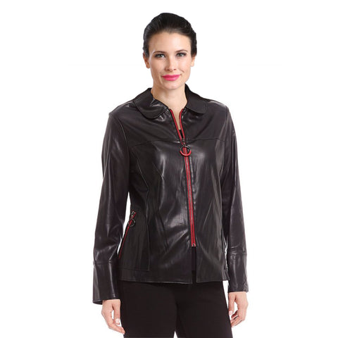 IC Collection Liquid Leather Zip Jacket in Black/Red - 3162J