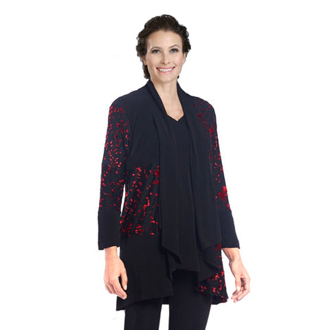 IC Collection Mixed Media Cherry Blossom Open Front Cardigan in Black/Red - 3544J