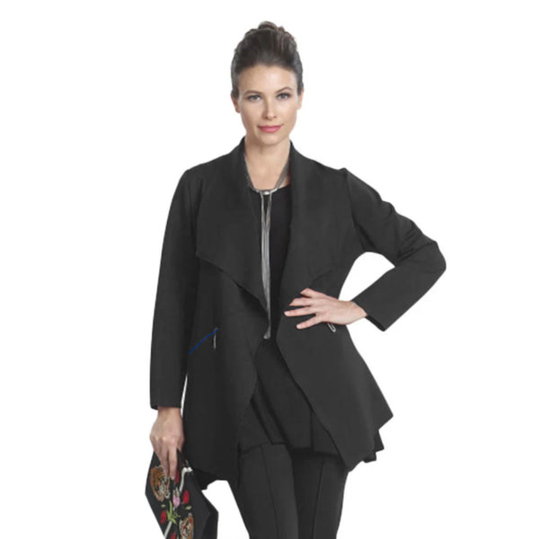 IC Collection Stretch Knit Open Front Jacket in Black- 5143J-BLK - Size M Only