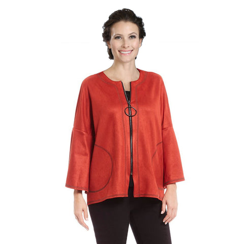 IC Collection High-Low Zip Front Faux Suede Jacket in Rust - 3131J-RST