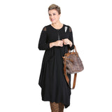 IC Collection Soft Knit Zip Front Midi Dress in Black - 3574D - Size S Only