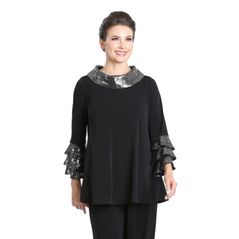 IC Collection Sequin Cowl Neck Tunic in Silver/Black - 3165T-SLV