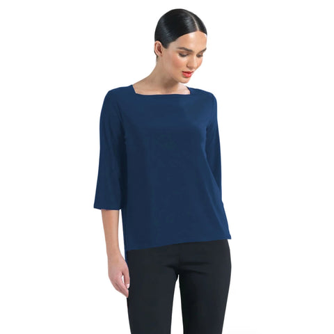 Clara Sunwoo Relaxed Silhouette Boat Neck Top in Navy - ♥ T36-NVY