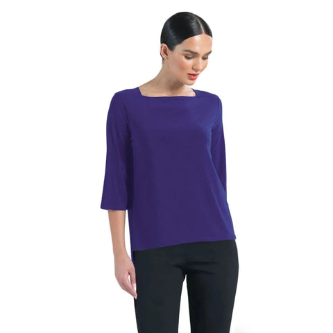 Clara Sunwoo Relaxed Silhouette Boat Neck Top in Purple - T36-PPL - Sizes XS, M & XL Only