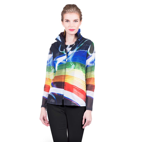 Damee NYC Mixed Stripe Print Mesh Jacket w/Matching Shell in Multi - 31370-MLT